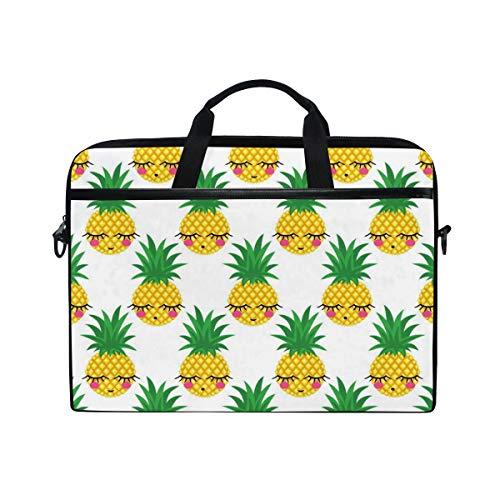 HAIIO Laptop Bag Case Cute Summer Tropical Pineapple Emoticon Computer Protector Bag 14-14.5 inch Travel Briefcase with Shoulder Strap for Women Men Girl Boys