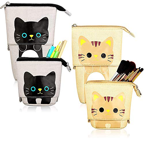 JPYH 2 Packung Verwandeln Mäppchen, Cartoon Nette Katze Federmäppchen Kosmetiktasche Organisator für Jungen Mädchen