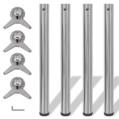 binzhoueushopping 4 Pieds de Table réglables en Hauteur 60 x 710 mm (Diam. x H) Nickel brossé utilisé comme Pieds de Tables de pétit-déjeuner