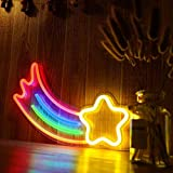 Shooting Star Neon Signs for Wall Decor, USB Operated LED Neon Lights for Man Cave, Bedroom, Bathroom, Bar, Party, Christmas Gifts, Cute Night Light Lamp(Hanging Hole&Acrylic Backboard)