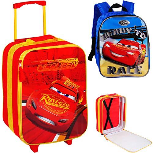 alles-meine.de GmbH 2 TLG. Set: großer _ Kinder Trolley + Rucksack - Disney Cars - Auto - Lightning McQueen - wasserabweisend & beschichtet - Kinderrucksack für Jungen - Trolly m..