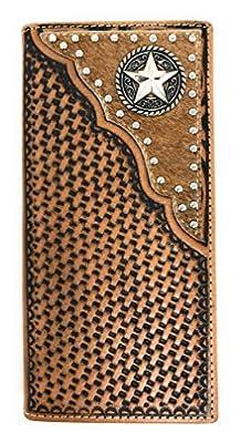 Western Men's Basketweave Genuine Leather Lone Star Long Cowhide Stud Bifold Wallet (brown)