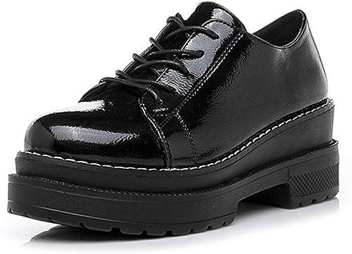 YAN Chaussures Femme Femme Printemps Nouvelle Plate-Forme Chaussures Angleterre Lacets Bas-Haut Chaussures Décontracté Chaussures de Marche en Plein air Noir Blanc,noir,34  produit de qualité d'approvisionnement