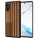 JuBeCo Galaxy Note 10+ Pro/Plus/5G Case,360 Full-Body Protection,Wood +Flexible TPU Bumper, Slim Hybrid Case for Samsung Galaxy Note 10+ Pro (Us Flag)