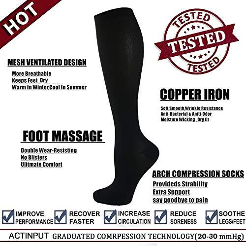ACTINPUT Compression Socks Stockings for Men & Women - 3/6 Pairs - 20-30 mmHg is Best for Running,Medical,Sports,Flight Travel, Pregnancy (S-M, Black-2)