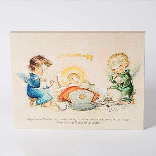 """Angelitos con niño Jesús y oración""""Angel de la guarda..."""" 30x40cm. Ilustración de Juan Ferrándiz impresa en lienzo. Serie limitada y numerada. Regalo Bautizo"""