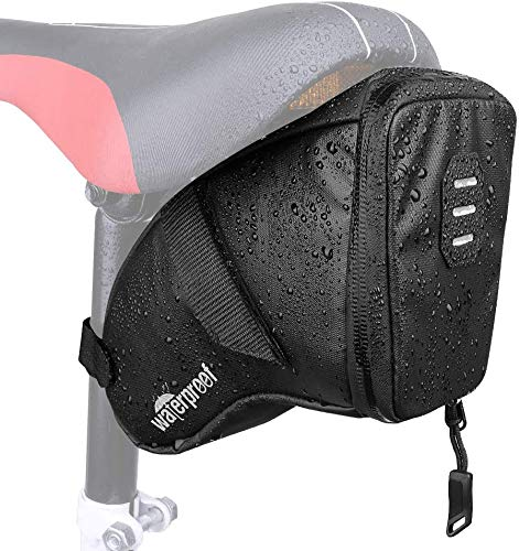Eyein Waterproof Bike Saddle Bag, 1.5L Large Capacity Bicycle Strap-on Wedge Seat Storage Pack with Water Resistant Zipper Rear Light Loop PU Reflective Tail Bag for Mini Pump Repair Tools MTB Cycling