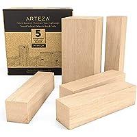 Arteza Juego de 5 piezas de madera para tallar   4 piezas de 10,2 x 2,54 x 2,54 cm + 1 pieza de 10,2 cm x 5.1 x 5.1 cm   Tacos de madera de tilo para artesanía y manualidades