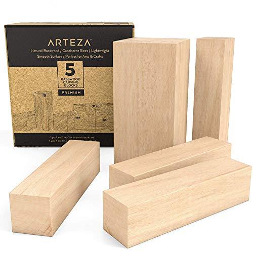 Arteza Linde Holzblöcke zum Schnitzen & Basteln, 5-teiliges Set mit 1 10x5x5 cm & 4 10x2,5x2,5 cm Blöcken, natürliches Lindenholz, Schnitzholz für Kunst, Handwerk & DIY, glatt poliert