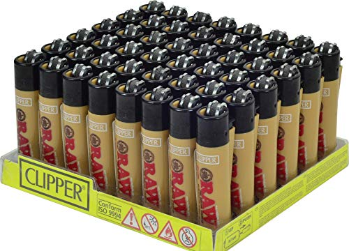 Raw Regular Size Clipper Lighter with System to roll Cigarettes 48 Tray