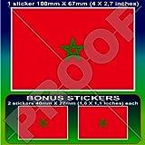 Marokko Marokkanische Flagge, Afrika African 10,2cm (100mm) Vinyl Bumper Aufkleber, Aufkleber X1+ 2Bonus