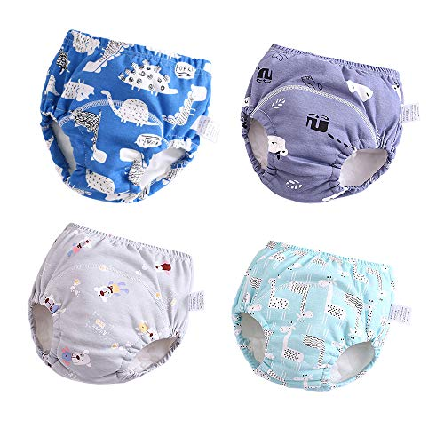 U0U Baby Girls' 4 Pack Cotton Training Pants Toddler Potty Training Underwear for Boys and Girls 12M-4T (Boys, 3T) Blue