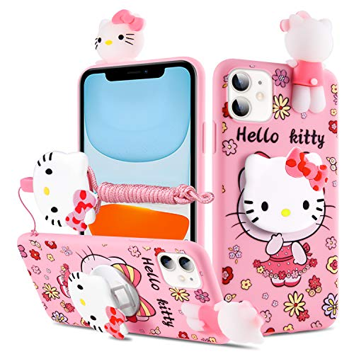 HikerClub Galaxy S20 Case Hello Kitty 3D Cartoon Case with Pop Out Phone Stand Grip Holder and Detachable Long Lanyard Neck Strap Band Soft Lovely Case for Children Kids Girls (Hello Kitty, S20)