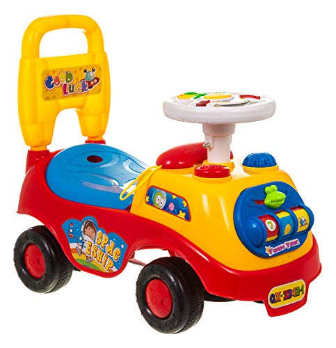 Hillington My First Ride On and Push Along Buggy Car Colourful First Steps Toddler Walker Learning Toy with Sounds and Accessories (RED)