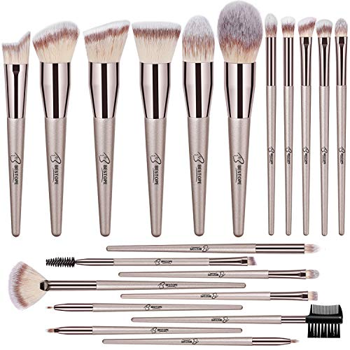 Cute Makeup Brush Set Professional with Crystal Handle Butterfly Base Organizer for Foundation Highlight Blush Blending Concealer Face Powder Eye Shadow, Set of 4, Blue