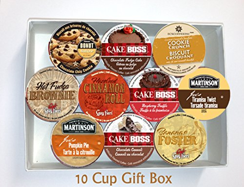 10 Cup DESSERT Flavored Coffee GIFT BOX Sampler! 10 Single Serve Cups. DESSERT Flavored COFFEE! Perfect GIFT!