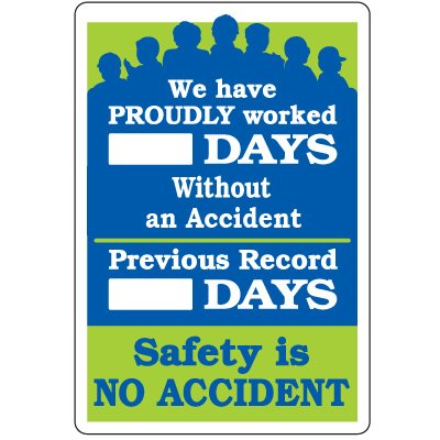 Emedco Safety Tracker Sign - Vinyl, Self-Adhesive, Dry Erase Board | We Have Proudly Worked_ Days Without an Accident