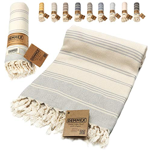DEMMEX - Toalla de algodón turco con certificado 100% orgánico y tinte orgánico prelavado XL, tejido de diamante, toalla peshtemal para baño, playa, piscina, spa, gimnasio, 180 x 90 cm