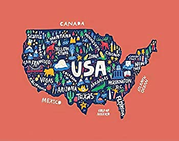 MQPPE USA Map 5D DIY Diamond Painting Kits American States and Cities Names Cartoon Landmarks America Infographic Full Drill Painting Arts Set Craft Canvas for Home Wall Decor Adults Kids 16  x 20