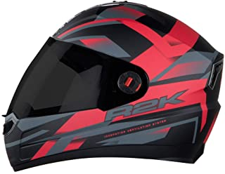 Steelbird SBA-1 R2K Full Face Graphics Helmet in Matt Finish with Smoke Visor (Large 600 MM, Matt Black with Red)
