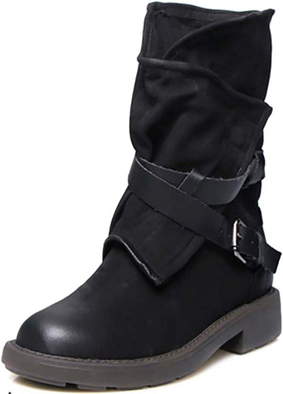 Ghssheh Autumn Women Mid Calf Boots Retro Buckle Strap Zipper Flat Platform Motocycle Footwear Ladies shoes Brown 4 M US