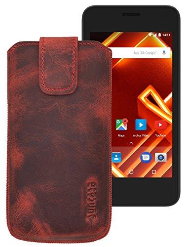 Suncase ECHT Ledertasche Leder Etui für ARCHOS Access 55 Tasche (mit Rückzugsfunktion) in antik-rot