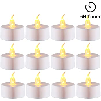 Home Party Horeset 6 Hours on and 18 Hours Off in 24 Hours Cycle Automatically Birthday Pack of 12 Timing LED Candle Lights Flickering for Wedding Battery Tea Lights Yellow with Timer