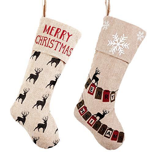 Valery Madelyn Weihnachtsstrümpfe 46cm Leinen 2er Set Nikolaus Strumpf zum Befüllen und Aufhängen In den Wald Thema für Weihnachtsschmuck Beige MEHRWEG Verpackung
