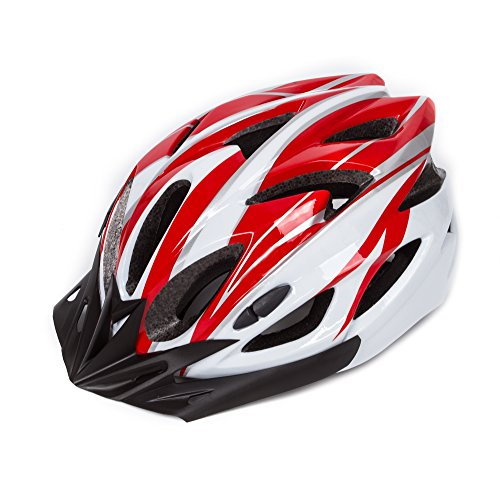 SUNVP Adult Bike Helmet Integrated Ultralight Adjustable Safety Bicycle Cycling Helmets(red&White)