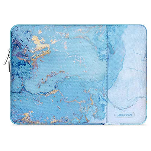 MOSISO Laptop Hülle Kompatibel mit 2020 2019 MacBook Pro 16 Zoll Touch Bar A2141, 15-15,6 Zoll MacBook Pro Retina 2012-2015, Notebook, Polyester Vertikale Aquarell Marmor Sleeve mit Tasche, Türkis