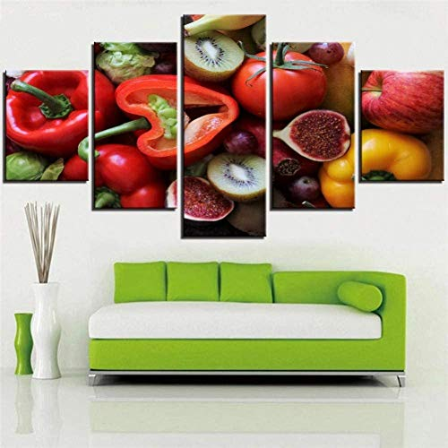 YTCCYBZ HD 5 Canvas Paintings 5 Pieces Food and Friuts Canvas Art Painting Vitamin Posters Pictures Home Room Kitchen Restaurant Decor Improvement Artwork Mural Poster Home Decoration Wall (No Frame)