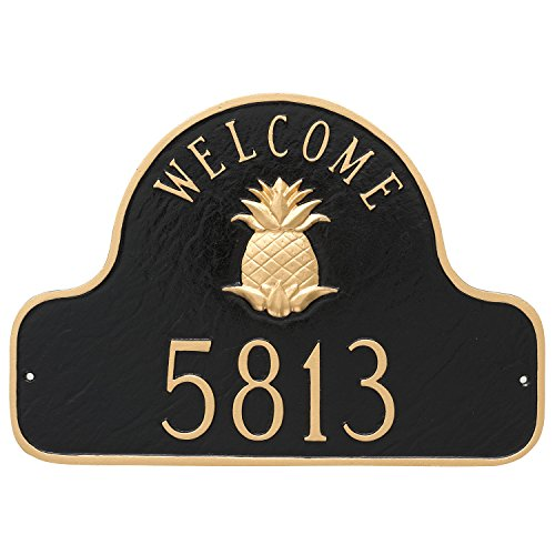 """Montague Metal Pineapple Welcome Arch Address Sign Plaque, 11"""" x 16"""", Black/Gold"""