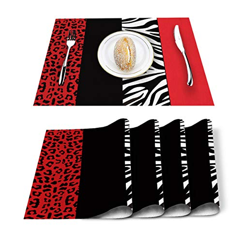 Artwork Store Placemats Set of 6, Red Leopard and Zebra Animal Print Cotton Linen Heat Resistant Table Mats Non-Slip Washable Kitchen Place Mat for Dining Table Holiday Banquet Table Decor