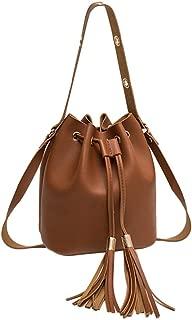 Drawstring Shoulder Bag Leather Tassel Handbags Simple Retro Crossbody Bag