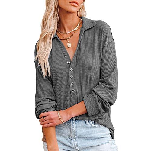 Mosiolya Camisa de manga larga con botón para mujer, sexy, cuello en V, monocolor, de punto, blusa, gris, L