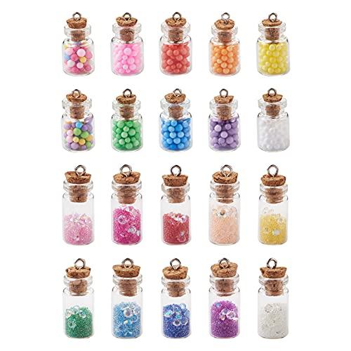 PandaHall Colgantes de bola de cristal mini claro globos de cristal encanto para DIY collar pendiente fabricación de joyería, Hierro,