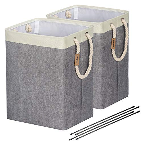 COSYLAND Laundry Basket with Rope Handles 65L Collapsible Linen Hamper Foldable Nursery Storage Baskets Bin for Bathroom, Toys and Clothing Organization 2Pack
