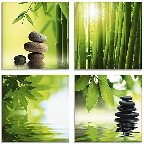 Artland Glasbilder Wandbild Glas Bild Set 4 teilig je 20x20 cm Quadratisch Asien Wellness Zen Spa Steine Bambus Steinpyramide Entspannung S6BJ