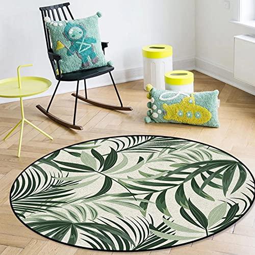 Plantas Tropicales Hojas Hojas Verdes Alfombras Redondas Alfombra para Sala de Estar Dormitorio Alfombrillas Antideslizantes para sillas para niños Felpudo para habitación-D 120