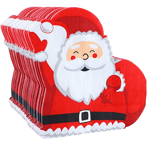 Aneco 60 Pack Santa Claus Paper Napkins Disposable Paper Napkins Party Supplies Fancy Cocktail Napkins for Christmas Party Supplies