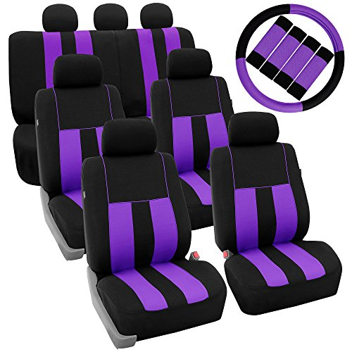 FH Group FB036217 + FH2033 Three Row Combo Set: Striking Striped Seat Covers Purple/Black Color- Fit Most Car, Truck, SUV, or Van