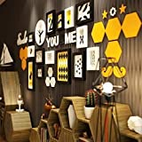DAGCOT Cadre photo de famille Collage moderne Creative Grand multi images Cadres photo murale Ensemble Couvre 2.06m X 0.76m simple mur Photo Noir Blanc Picture Frame Collage Home Office Studio Décorat