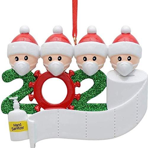 JOERRES Survived Family 2020 Deco de Noel, Ornements personnalisés Ornements d'arbre de Noël Nom de Bricolage Décoration de Noël à Suspendre Cadeau de Noël en Famille. (Famille de 4)