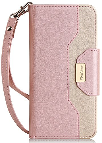 iPhone 8 Plus / 7 Plus Wallet Case, ProCase Flip Fold Card Case Stylish Slim Stand Cover with Wallet Case for Apple iPhone 8 Plus/iPhone 7 Plus -Pink