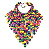 Multicolored Statement Necklaces Multilayer Wooden Bead Necklaces for Women