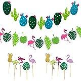 Jadin fiesta tropical hawaiana, accesorios de fiesta hawaiana banner personalizado tarta flamenco decoración de fiesta de verano Adecuado para fiestas de verano decoración de postres