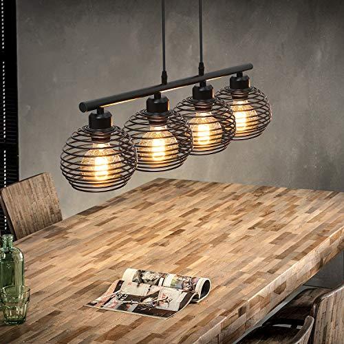 ZMH Vintage Pendelleuchte Schwarz Hängelampe—Retro Industrial Hängeleuchte für Esstisch Wohnzimmer Küche Schlafzimmer hängend Kabel an der Decke Käfig Lampenschirm aus Metall 4*E27 flammig Fassung