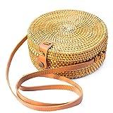 Handwoven Round Rattan Bag Purse for Women, Tote Basket Circle Boho Bag Bali