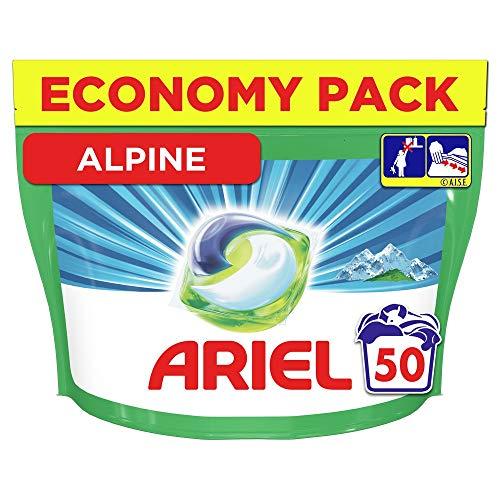 Ariel Allin1 Pods Lessive Capsules Parfum Alpine, 50 lavages, Lavage À Basse Température et Parfum Longue Durée
