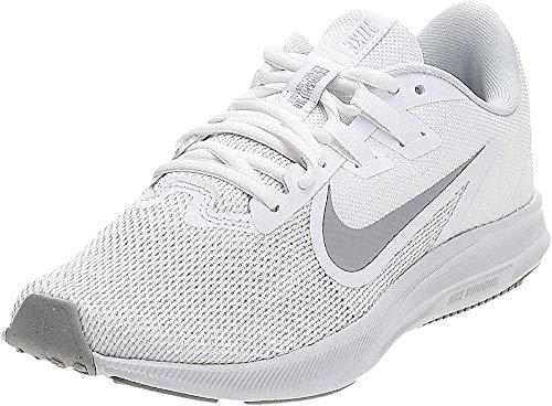 Nike Women's Downshifter 9 Running Shoe, White/Wolf Grey-Pure Platinum, 9 Regular US